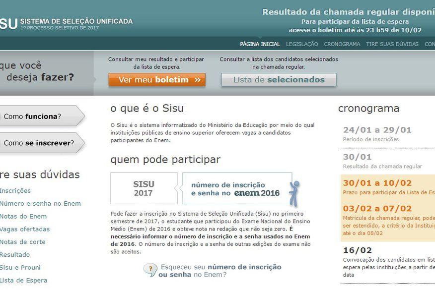 MEC prorroga inscrições do Sisu devido a problemas de acesso ao site